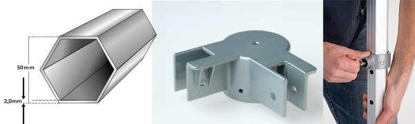 Extrem stabile Komponenten für den 50mm 6-Kant Rahmen