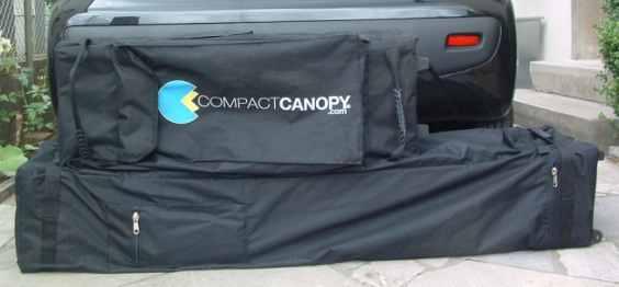 Compact Canopy Faltpavillon faltbar auf 1m Größenvergleich der Packmaße
