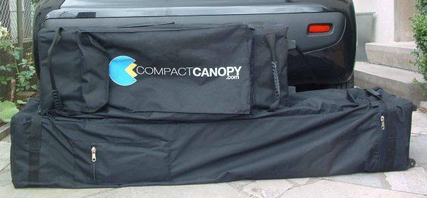 Größenvergleich der Packmaße - Compact Canopy Faltpavillon passt quer in den PKW