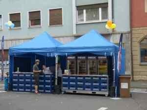 Pavillon 3x3m - Mit dem stabilen Rahmen wird er oft als Marktstand verwendet. Erhält auch stärkere Winde aus.