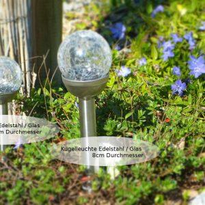 LED Solar Kugelleuchte 6cm_8cm Gals Edelstahl