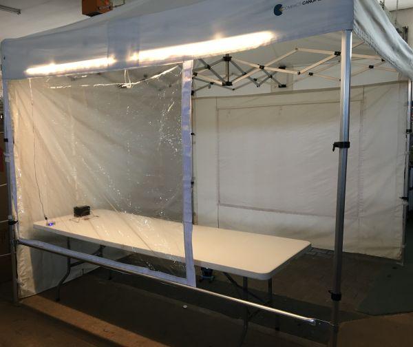 Klarsich-Abtrennung für Corona Test-Zelt